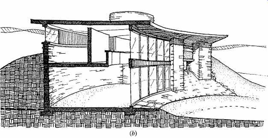 passive solar-heated home Frank Lloyd Wright Solar Hemicycle