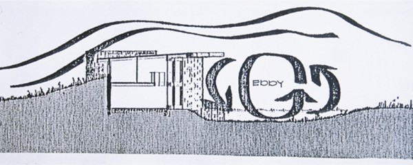 Wright's sketch of air flow around the Solar Hemicycle